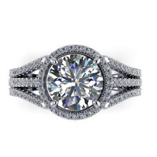 Solitaire 4.10 Ct Round Diamond Engagement Ring 14K White Gold Size 6 7 8 9