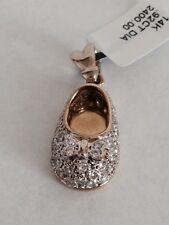 14k Yellow Gold Diamond Baby Shoe Pendant Charm bow .92 carat VS 9Gram
