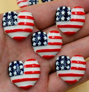 Heart American flag 24X26MM 4/20PCS Flatback Resin Cabochon Scrapbooking/Crafts