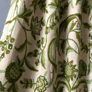 Antique Linen Crewel Embroidered Drapery Curtain Panel Fabric Coat Pillow Craft