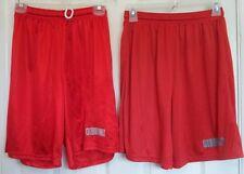Athletic Shorts Small Long Loose Red Drawstring Elastic Waist 100% Nylon Womens