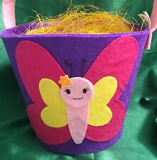 Colorful Easter Butterfly Felt Basket or Decoration W/ Straw Purple Pink Yellow