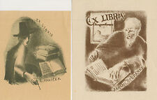 "2 Ex libris Exlibris ""Man with book"" by MAHELKA JINDRICH (1919-1990) Czech"