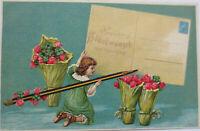"""""""Geburtstag, Brief, Schreiben, Kinder, Kleeblatt"""" 1908, Prägekarte ♥ (8258)"""