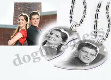 Custom Photo Engraving Split Heart 2 set Pendant Necklaces Christmas GIft 4 Love