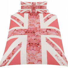 Pink Union Jack ROSE FLOWERS Single Duvet Cover