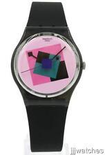 New Swatch Originals Gent CRAZY SQUARE Black/Pink Silicone Watch 34mm GA109