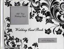 Guest Book Wedding White Black Silver FLORAL DESIGN Photo Pocket on Cover New