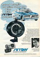 1972 Arrow Gauges Print Ad w/ Ronnie Leong's Hawaiian Dodge Charger Funny Car