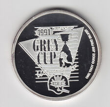 1991 Grey Cup One Troy Ounce Pure Silver Round in Case