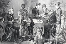 Christmas Gifts 1875 TOYS DRUM CHILD MOM DAD MAID DOLL JESTER Matted Engraving
