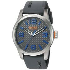 HUGO BOSS MEN'S 47MM GREY SILICONE BAND STEEL CASE QUARTZ ANALOG WATCH 1513349