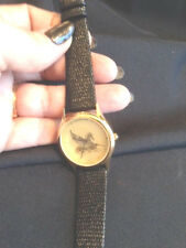 WITTNAUER PEGASUS GOLD WRIST WATCH NEW UNTESTED GENUINE BLACK LEATHER BAND