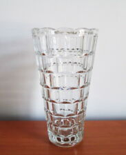 """Czech Glass Vase 10"""" Clear Tapered Indented Facets 1970s Vintage Sklo Union"""