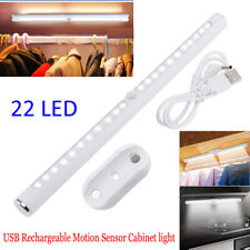 22 LED PIR Motion Sensor Cabinet Light USB Rechargeable Wardrobe Cupboard Lamps