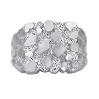 Mother's Day Mens Nugget Square Ring Real Solid 10K White Gold ALL SIZES