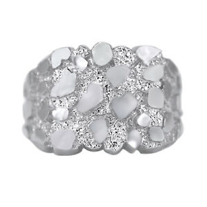 Valentines Day  Mens Nugget Square Ring Real Solid 10K White Gold ALL SIZES