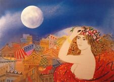 """George Stathopoulos """"GIRL WITH MOON""""  Edition Offset-Litho Print Greek Artist"""