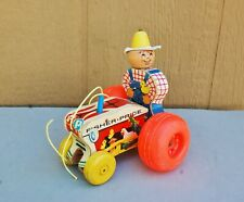Fisher Price Farmer on Tractor Pull Toy Vintage #629 Farm Toy Wood Plastic 6""