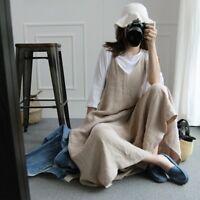 Lady Linen Jumpsuit Baggy Fit Harem Casual Pants Dungaree Overalls Romper