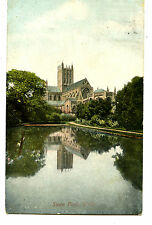 Swan Pool Reflection-Wells Cathedral-Church-UK-England-1906 Vintage Postcard