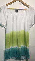 Faded Glory Womens Short Sleeve Scoopneck Blouse Top White Green Size Small