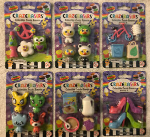 CRAZERASERS (Lot of 6) Collectable Series 2, Puzzle Erasers, (6 Fun Themes), NEW