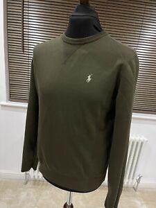 Mens Ralph Lauren Crew Olive Green Double Knit Tech Jumper Sweater M Medium