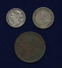 STRAITS SETTLEMENTS 1882-H 10 CENTS, 1920 5 CENTS, 1891 CENT, LOT OF (3) COINS