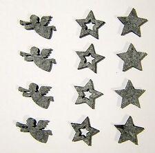 12 ausgestanzte Sterne und Engel aus Filz in grau 2,5-3cm Streudeko Weihnachten