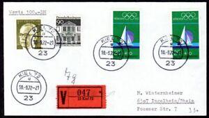 Olympische Spiele 1972 Kiel BRD Wertbrief  mit Sonder V Zettel und Stempel Kiel