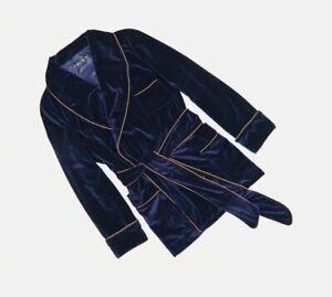 Mens Blue Velvet Smoking Jacket Dressing Gown Robe Party Host Dinner Blazer Coat