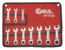 10PC STUBBY RATCHETING WRENCH / SPANNER SET BY GENIUS TOOLS GW-7610M