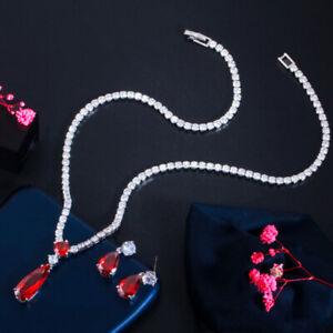 Red CZ Drop Tennis Pendent Necklace Earrings Set for Women Daliy Wear Jewelry
