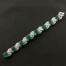 2 CTW Emerald & Diamond Bracelet With 14k White Gold Over 925 Silver