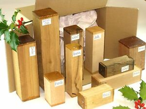 Woodturning spindle blanks gift selection box.  Mixed sizes and species. 28