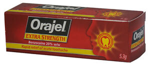 3 x Orajel Extra Strength acute toothache dental gel – 20% w/w Benzocaine 5.3g