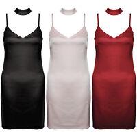 New Satin Strappy V Neck Choker Short Mini Cami Slip Evening Party Dress