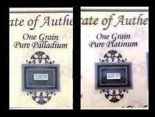 Acb Platine et Palladium 1grain Lingot Barres Certificat D'Authenticité $