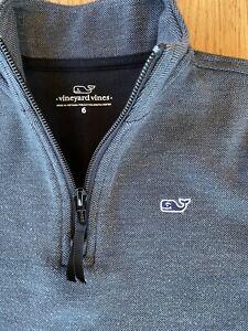 Vineyard Vines Gray Quarter 1/4 Zip Pullover Sweater Boy's, Size 6, EUC