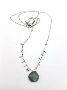 "925 Silver Labradorite Necklace 18"" 3gTW AET535"