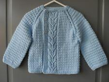 Handmade knitted baby boy light blue seamless long sleeved cardigan, 9-12 months