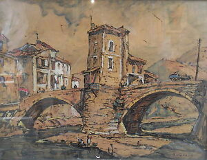Joseph HURARD (1887-1956), Encre gouache, Paysage provençal Pont de Sospel signé
