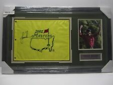 Tiger Woods Signed Autographed 2002 Masters Golf Flag Framed with Photo CoA