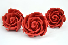 "Set of 3 red sugar paste rose flowers, 3"" handmade, cake topper,wedding edible"