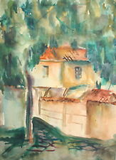 1979 Impressionist watercolor drawing country house landscape signed