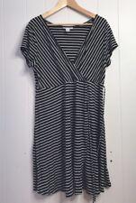 Motherhood Maternity sz XL Black White Stripe Faux Wrap Dress