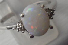 #2 Genuine Coober Pedy Opal Ring with White Zircon in Sterling Silver 1.17cts~~