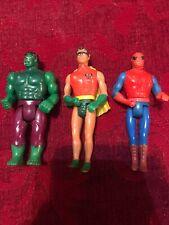 """1975 VINTAGE MEGO DC COMIC ACTION """"ROBIN"""" """"Hulk"""" """"Spider-Man"""" Lot"""