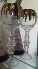 Set TALL Candles Holders GOLD & BLACK in clear Glass Vase Hand Painted Tea Light